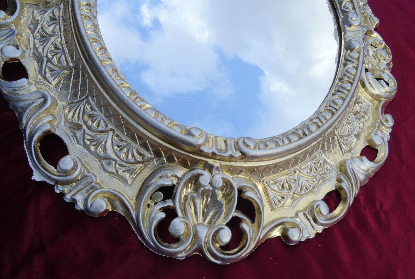 Wall Mirror Gold Silver Oval 45x38 Cm Baroque Antique