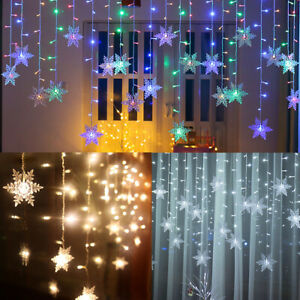 details about christmas led snowflake fairy string window curtain lights waterproof outdoor