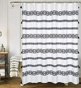details about yokii extra long shower curtain 96 inch black and cream striped boho fabric bat