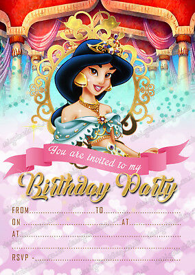birthday party invitations disney princess jasmine x 8 thick cards envelopes ebay