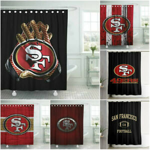 details about san francisco 49ers bathroom shower curtains waterproof bath curtains fans gifts