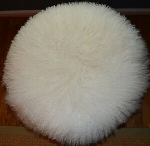 details about round mongolian lamb fur pillow natural white 18 tibetan genuine fur cushion