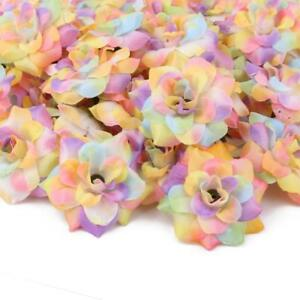 50x Artificial Rainbow Roses Silk Fabric Flower Heads for Hair Bands     Image is loading 50x Artificial Rainbow Roses Silk Fabric Flower Heads