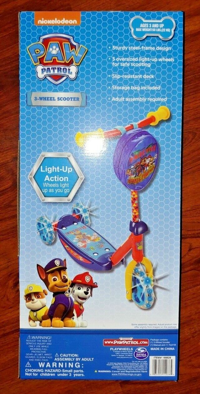Paw Patrol 3 Wheel Kick Scooter Ages