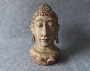"""Vintage Buddha Head on Lotus 12"""" Fine Wooden Carving Statue Sculpture, Antique?"""