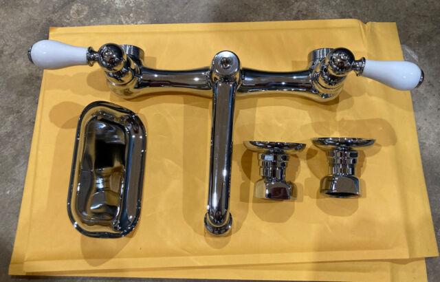american standard heritage wall mount sink faucet chrome spout porcelain handle