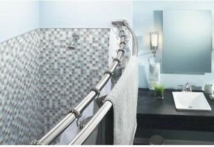 details about 60 in double curved shower curtain rod adjustable stainless steel bath chrome