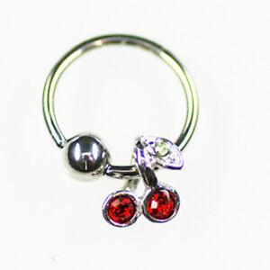 Ohr Helix Piercing Ring mit Kirschen Anhänger in 1,2mm & 1,6mm mit Kristall