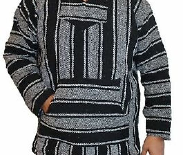 Image Is Loading Small Baja Hoodie Hippie Surfer Mexican Poncho Sweater
