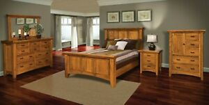 details about amish 5 pc bedroom set modern shaker panel bed solid wood queen king