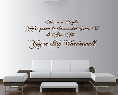 Oasis Wonderwall Lyrics Extra Large Wall Art Rock Quote Bedroom Sticker Decal Ebay