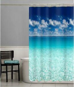 details about beach scene shower curtain ocean vinyl photo real bathroom sea sky decor 72 inch