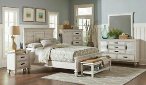 New Coastal Design Antique White Bedroom Furniture 5pcs Queen Size Bed Set A7k Ebay