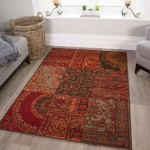 details sur chaud rouge orange tapis traditionnel petit grand tapis tapis moderne patchwork neuf afficher le titre d origine