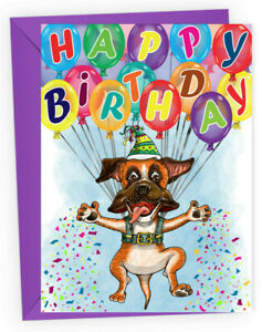 Boxer Dog Themed Birthday Card Boxer Rescue Charity Benefits Ebay