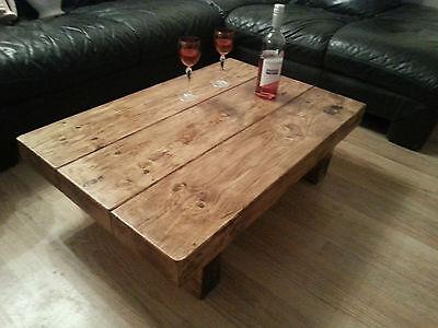 chunky rustic reclaimed style coffee table handmade solid wood rustic pine ebay