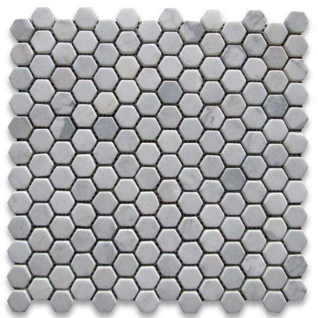 c31xt carrara white marble 1 hexagon mosaic tile tumbled nonslip shower floor