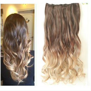 20 22 clip in hair extensions ombre dip dye full head wavy curly straight
