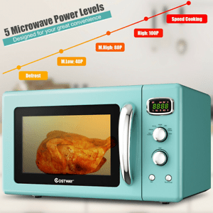 details about 0 9 cu ft retro countertop microwave oven 8 cooking settings 900w auto cook mode