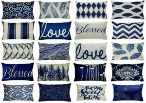 details about 12x20 linen navy blue throw pillow cover double sided retro lumbar cushion case