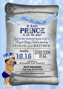 Details About Prince Baby Shower Invitations Boy Royal Invitation