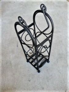details about ornate 3 bottle freestanding hanging black wrought iron wine rack cast iron