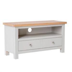 details sur gris petit meuble tv unite 90 cm peint bois massif chene television cabinet farrow afficher le titre d origine
