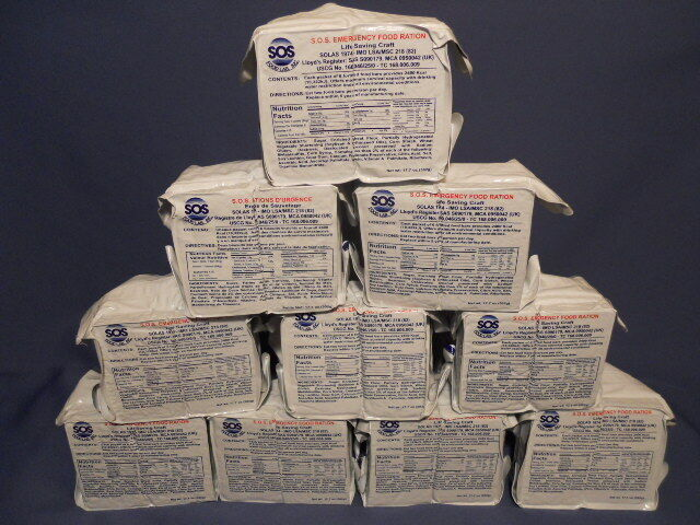 EMERGENCY FOOD RATIONS LOT OF 8/ 2400 CALORIE PACKS, STORAGE, READY TO EAT 2