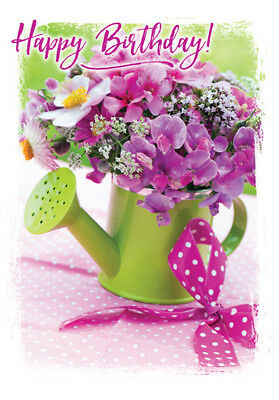 Happy Birthday Religious Card Female Christian Catholic Floral Watering Can Ebay