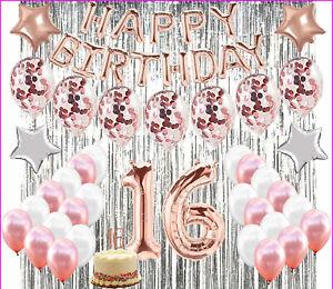 16th Geburtstag Dekoration Sweet Sixteen Party Mit 16 Kuchen Topper Rose Gold Ebay