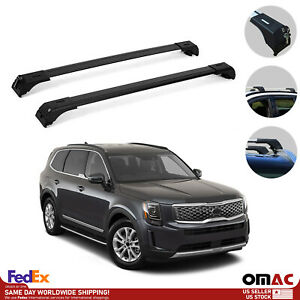details about roof rack cross bars luggage carrier set black for kia telluride 2020 2021