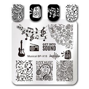 Born Pretty Square Nail Art Stamp Template Guitar Design Image