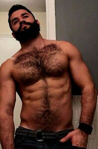 Image Is Loading Shirtless Male Muscular Beefcake Hairy Chest Abs Beard