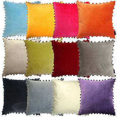 large velvet pom pom cushion ebay