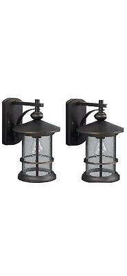 patriot lighting 2 pack oil rubbed bronze outdoor wall lights seeded glass ebay