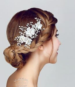 image is loading white wedding hair accessories bridal hair clips chiffon