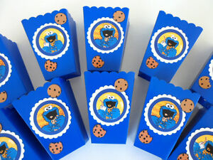 Cookie Monster Party Favors Popcorn Candy Boxes Birthday Baby Shower Set Of 10 Ebay