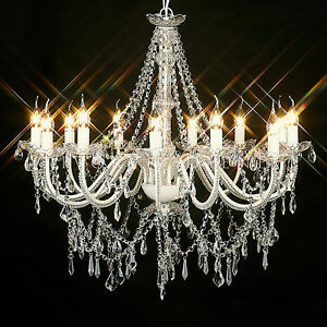 Image Is Loading Large Vintage Chandelier 12 Arm Victorian Glass Crystal