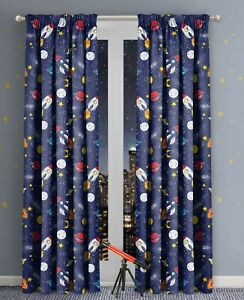 details about space print themed printed curtains 66x54