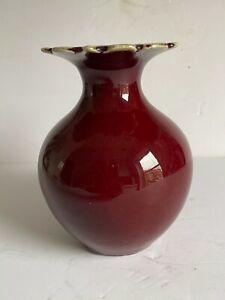 "Antique Sang De Boeuf CHINESE Porcelain Oxblood Vase Unusual Rim Late Qing 6.5"""
