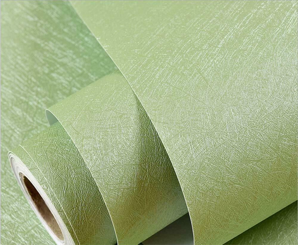 Green Embossed Self Adhesive Film Solid Color Peel And Stick Wallpaper Removable Ebay