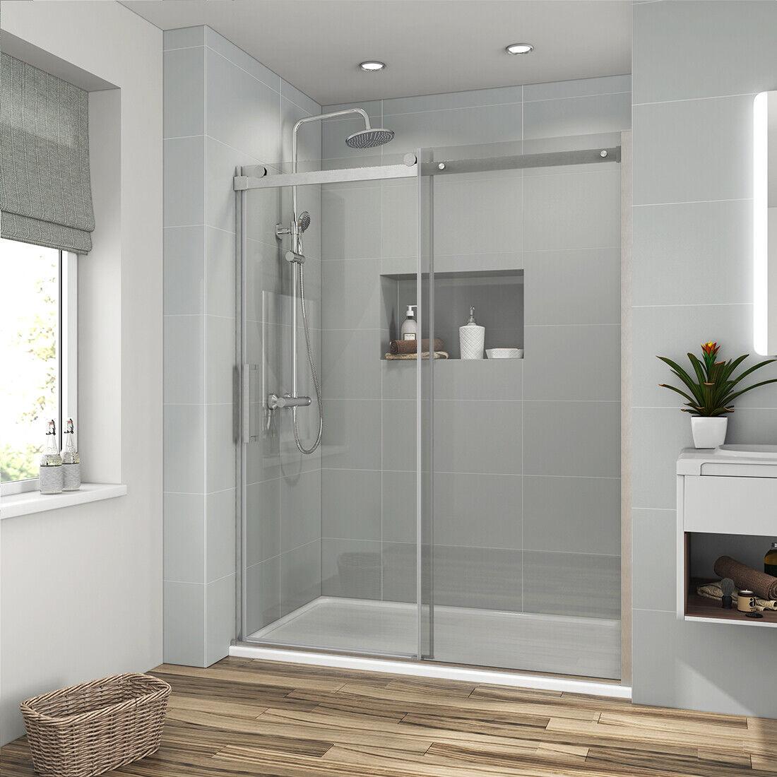 48 X 72 Frameless Sliding Shower Doors Screen 5 16 Clear Glass Brushed Nickel