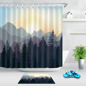details about shadow of mountains forest waterproof fabric shower curtain set bathroom hooks