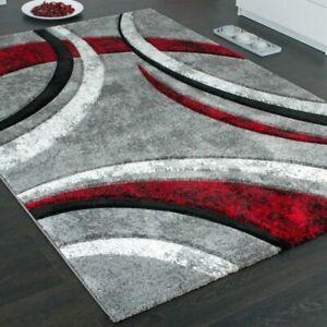 details sur moderne tapis rouge gris noir souple court velours abstract tapis salon petit grand afficher le titre d origine