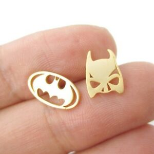 Batman Bat Mask Logo Shaped Stud Earrings Silver Comics Super Heroes