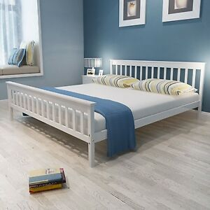 Image Is Loading Super King Size White Bed Frame Classic Pine
