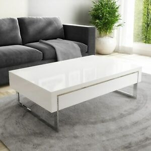 details about white gloss coffee table with storage drawers evoque tiff039