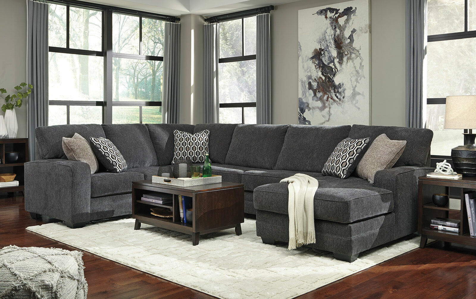 new modern sectional living room dark gray chenille sofa couch chaise set ig0z