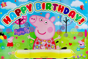 Peppa Pig George Pig Happy Birthday Party Poster Banner Party Supplies Ebay