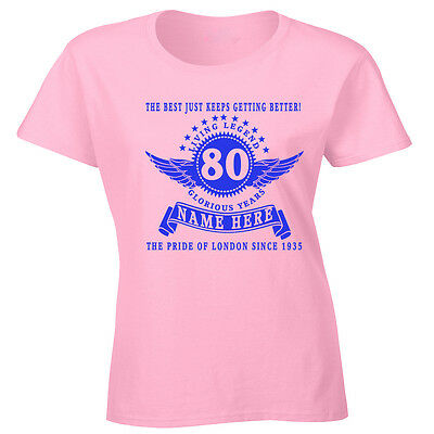Personalised Ladies 80th Birthday T Shirt Add Name Age Year Place Gift Idea 20th Ebay